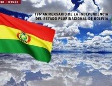 Estado Plurinacional de Bolivia, 196°aniversario de su Independencia